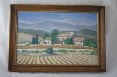 Ecole moderne, Paysage provençal, huile sur...