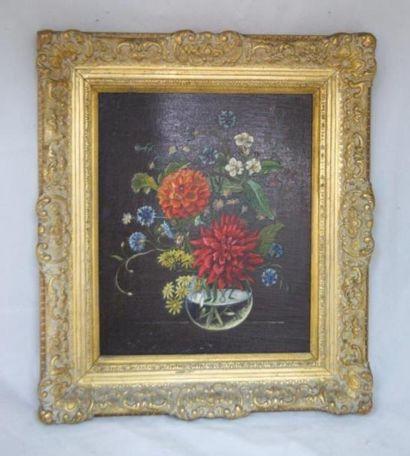 Ecold moderne, Bouquet de fleurs, huile sur...