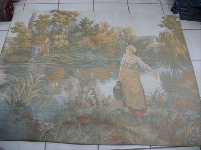 Textile, figurant une scène paysane. 140...