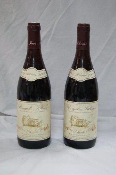 2 bouteilles de Beaujolais Villages, Jean-Charles Pivot, 2002.