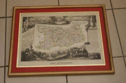 Gravure figurant le département du Calvados....