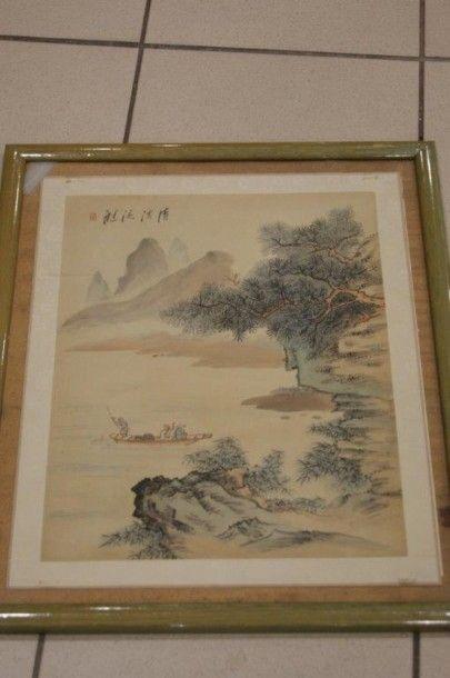 Peinture sur tissu, figurant un paysage animé....