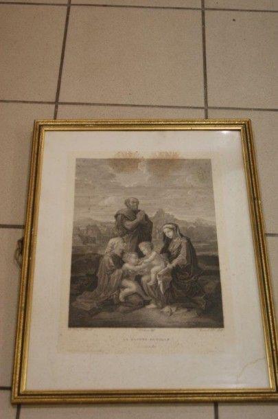 D'après Poussin, Gravure en noir figurant...