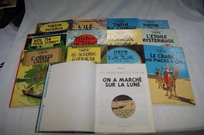 TINTIN Lot de 13 albums, Casterman : Tintin...