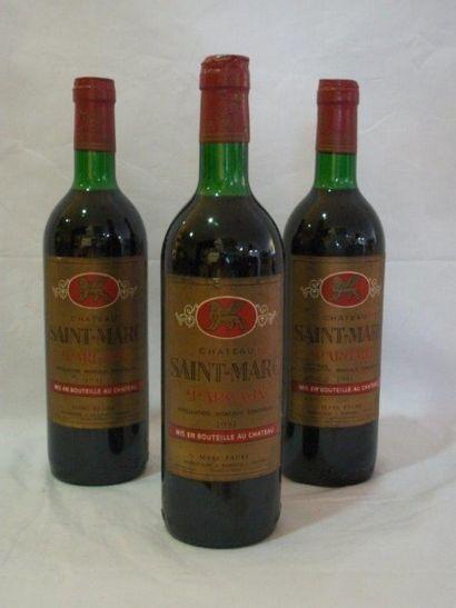 3 bouteilles de Margaux, château Saint Marc,...