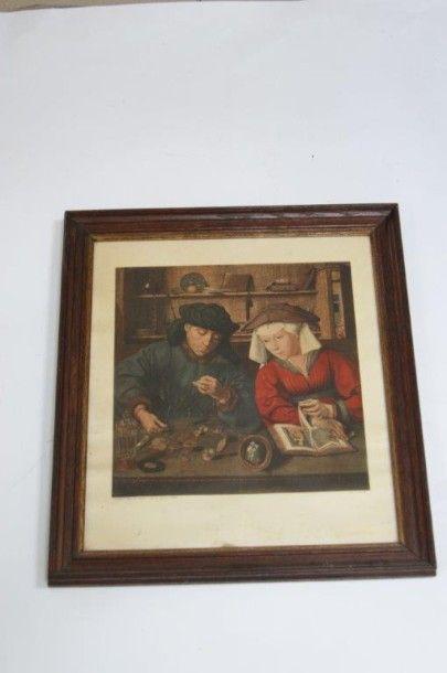 Reproduction d'une peinture flamande 39x43,...