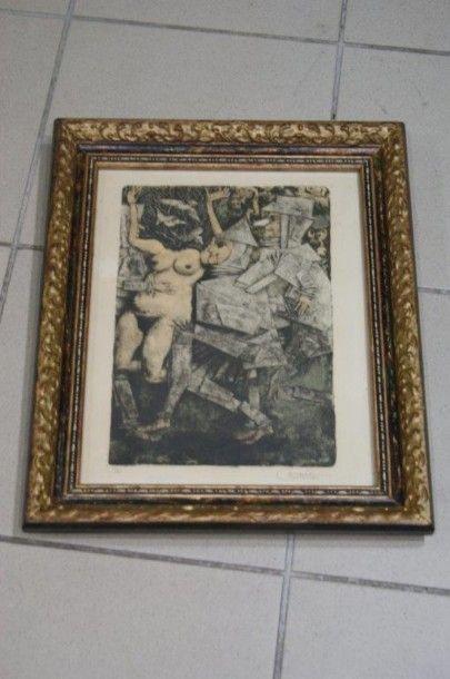CASTELLO Composition Lithographie. Signée...