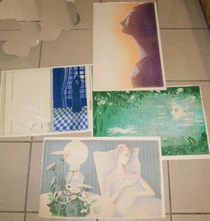 SCIORA (Né en 1945) Lot de 4 lithographies...