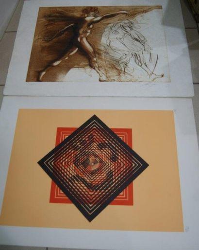 Lot de 2 lithographies, signées au crayon...