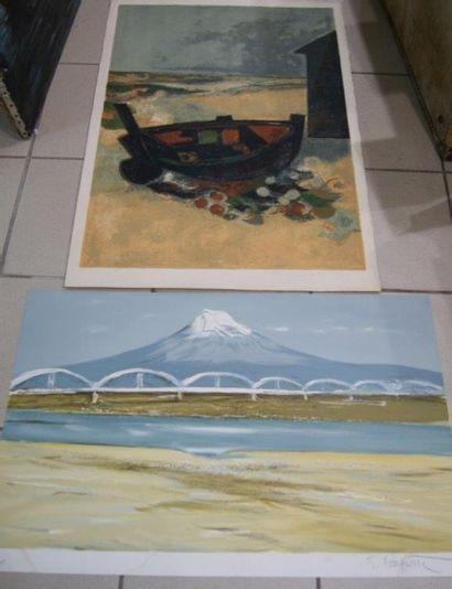 Lot de 2 lithographies, signées : André MINAUX...