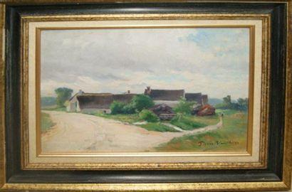 Pierre VAUTHIER (1845-1916) Paysage aux maisons....