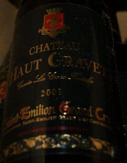 6 bouteilles de St-Emillion Grand Cru, Château Haut Gravet, 2008