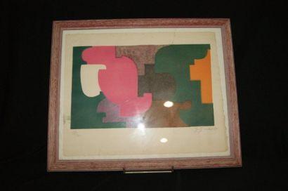 GOULET Coposition abstraite. Lithographie...