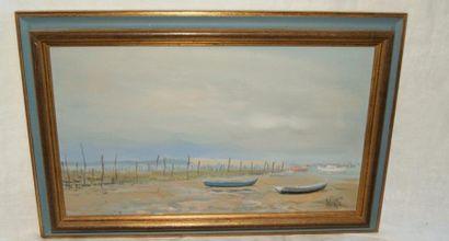 Serge CORBICE. Bateaux au Cap Ferret. Huile...