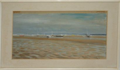 Serge CORBICE. Bateaux au Cap Ferret. Aquarelle....