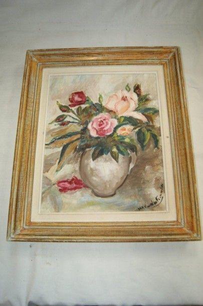Ecole moderne, Bouquet de roses. Huile sur...