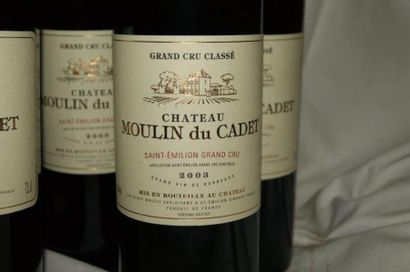6 bouteilles de St-Emillion Grand Cru, Château Moulin du Cadet, 2003