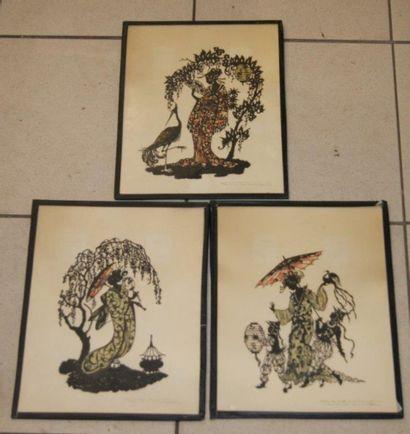 Série de 3 silhouettes découpées et papier...