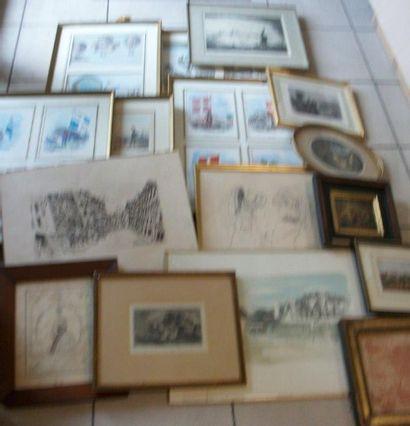Fort lot de pièces encadrées : gravures,...