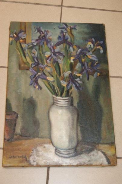 HERVEY Nature morte aux iris. Huile sur toile....