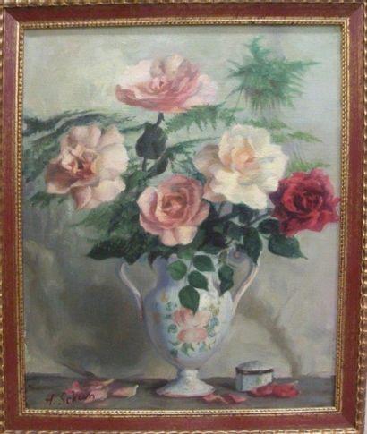 SCHEIN Nature morte au bouquet de fleurs....