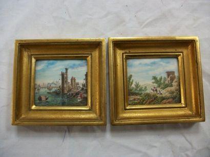 Paire de miniatures, figurant des paysages...