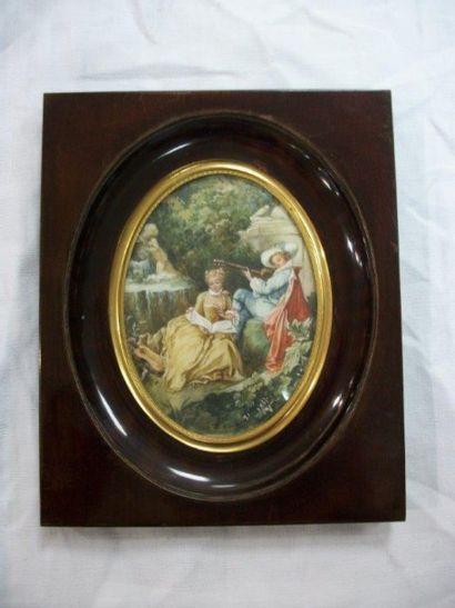 Miniature d'après Boucher, figurant une scène...