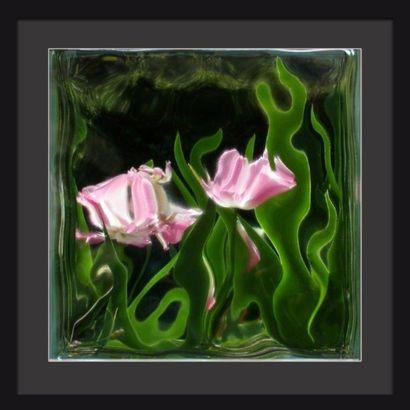 Gilles Le Dilhuidy  CARRE VERRE (rose)  dimensions...