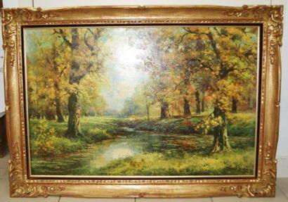 Lot de deux reproductions sur toile, figurant...