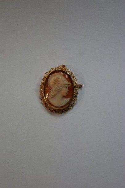 Broche/pendentif en or jaune, à décor d'un...