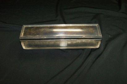 Boîte en cristal, couvercle en argent (poids...