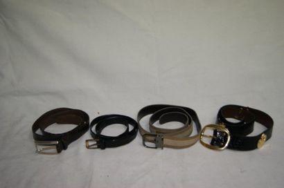Lot de ceintures dont Moreschi (cuir et nubuc,...