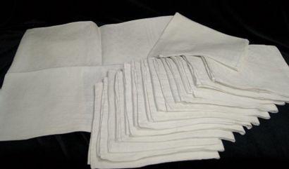 14 serviettes de table damassées blanc à...