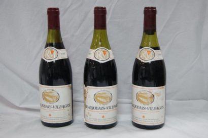 3 bouteilles de Beaujolais Villages, 1987....