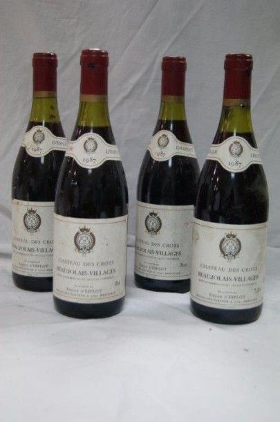 4 bouteilles de Beaujolais Villages, château...