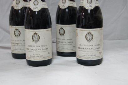 4 bouteilles de Beaujolais Villages, château de Crots, 1987. (LB)