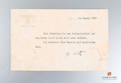 Carte de remerciements datée de janvier 1943...