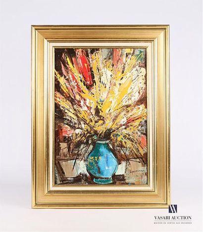LARRIEU Gaston (1908-1983) Vase bleu aux...