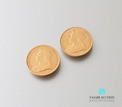 Deux pièces or Victoria 1894 et 1899 Poids...