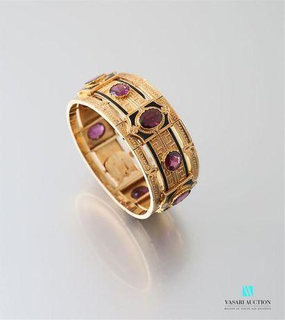 Bracelet manchette en or jaune 750 millièmes...