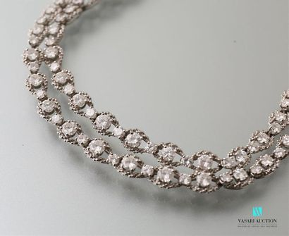 Soft necklace in white gold 750 thousandths oval mesh corded with diamonds for a...
