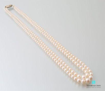 Collier deux rangs de perles de culture en...