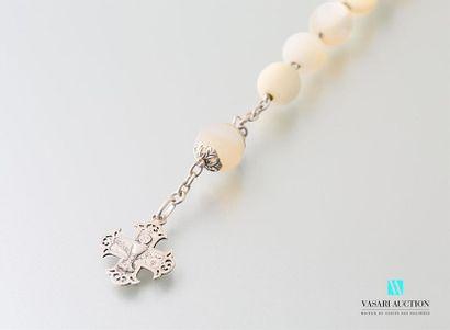 Chapelet en argent et perles en pierre de...