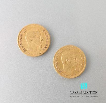 Deux pièces en or 10 francs Napoléon III...