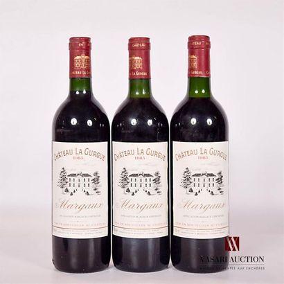3 bouteillesChâteau LA GURGUEMargaux1985...