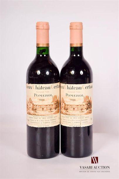 2 bouteillesVIEUX CHATAIN CERTANPomerol1988...