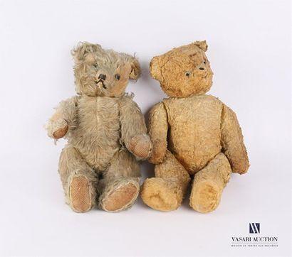 Lot de deux oursons en peluche l'un à poil...