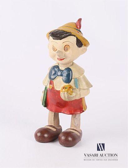 Sujet Pinocchio en résine peinte articulé,...
