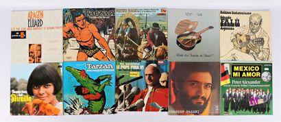 Lot de dix vinyles : - Aragon Eluard Poetes...