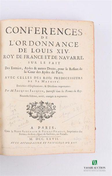 JACQUIN Jacques - Conférences de l'ordonnance...